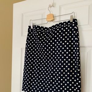 JCrew Navy Polka Dot Pencil Skirt